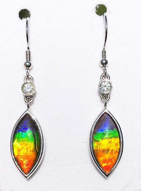 Sterling Silver Marquise Ammolite Drop Dangle Earrings 3SLE