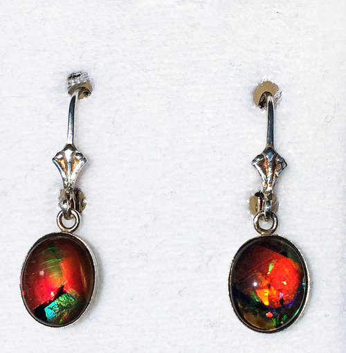 Sterling Silver Oval Mosaic Ammolite Drop Dangle Earrings 6SLE
