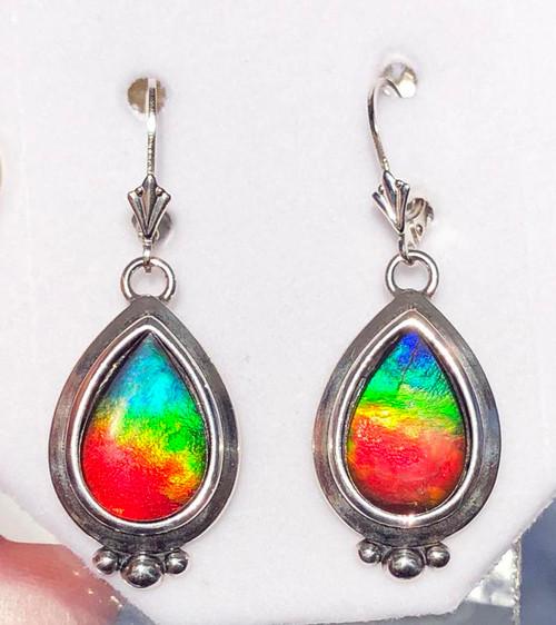 Sterling Silver Pear Teardrop Ammolite Drop Dangle Earrings 7SLE