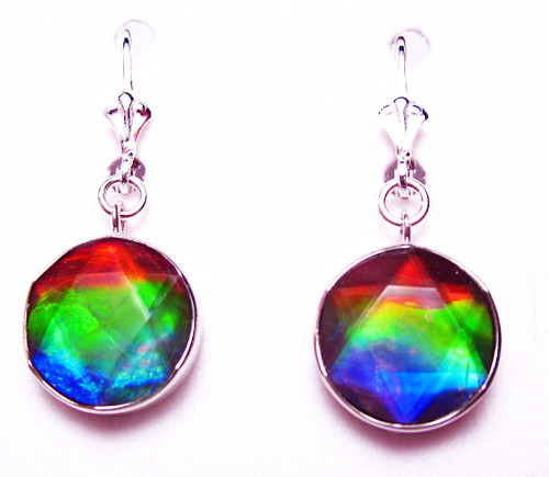 Sterling Silver Round Faceted Star of David Ammolite Drop Dangle Earrings 8SLE