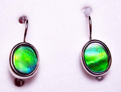 Korite Sterling Silver Oval Ammolite Drop Earrings 9KSLE