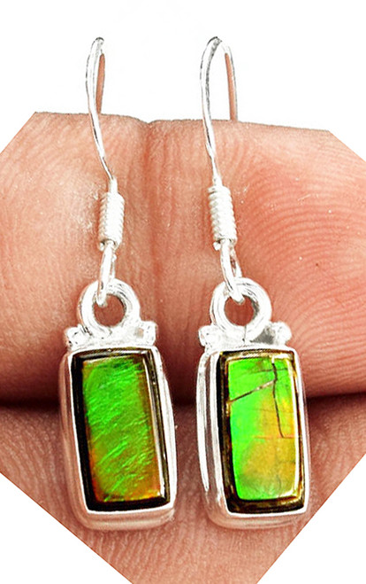Sterling Silver Rectangle Bar Ammolite Drop Dangle Earrings 11SLE