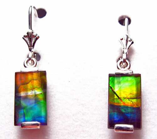 Sterling Silver Faceted Rectangle Bar Ammolite Drop Dangle Earrings 13SLE