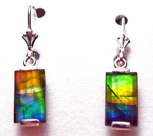 Sterling Silver Faceted Rectangle Bar Ammolite Drop Dangle Earrings 13SLE