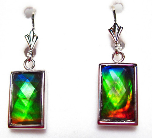 Sterling Silver Faceted Rectangle Bar Ammolite Drop Dangle Earrings 15SLE