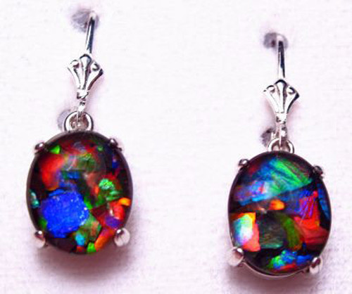 Sterling Silver Oval Mosaic Ammolite Drop Dangle Earrings 17SLE
