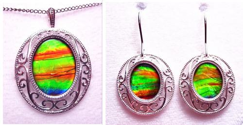 Sterling Silver Oval Canadian Ammolite  Pendant Earring Set 2SET