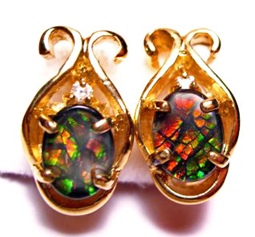 Ammolite Oval Clip on Earrings 1 CLIPGP
