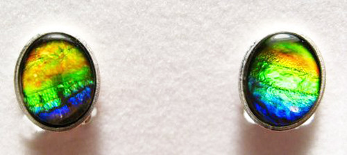 Ammolite Oval Clip on Earrings 2CLIPSS