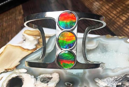 Ammolite 3 Stone Negative Space Cuff Bracelet 10SCB