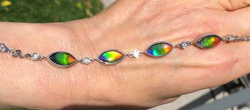 Ammolite Marquise Link Bracelet 2SLB