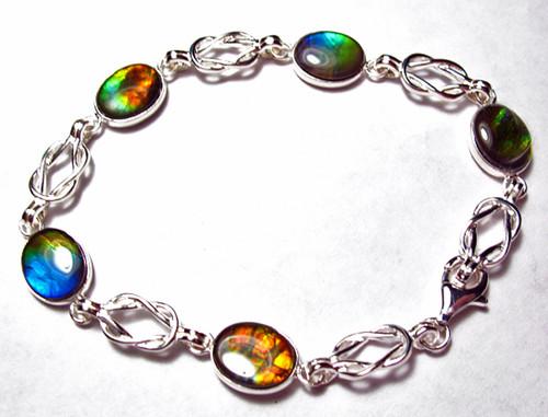 Ammolite Oval 5 Stone Bracelet 10SLB