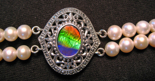 Ammolite and Pearl Bracelet 6SLB close up