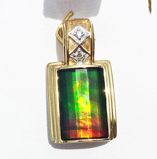 Korite Ammolite Faceted Rectangle Pendant  4KGP