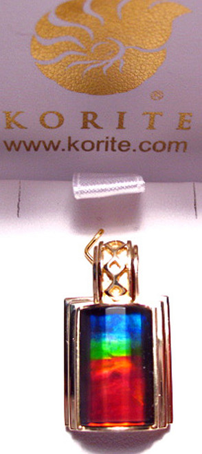 Korite Ammolite Faceted Rectangle Pendant  6KGP