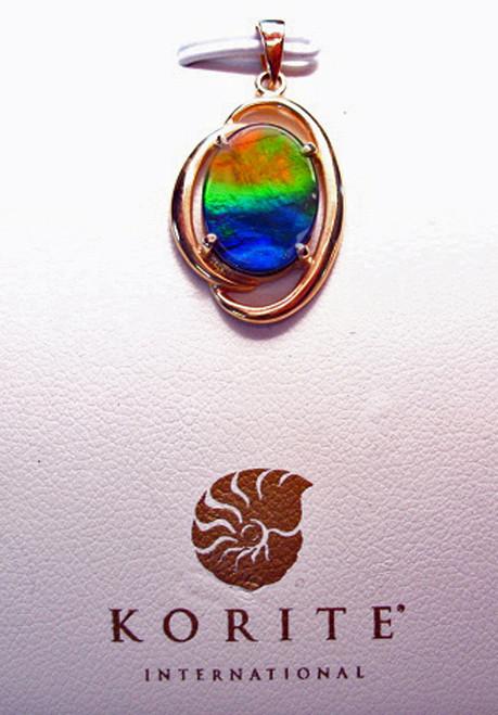 Ammolite Oval Rosalind Pendant  16KGP