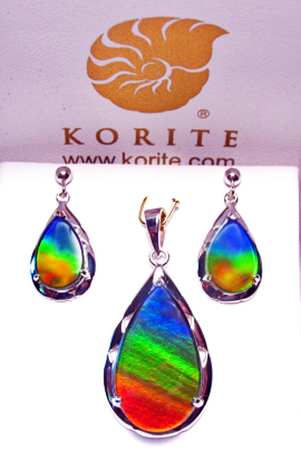 Korite Ammolite  Pear Rene (Royal) Set 18KW 1KWGS