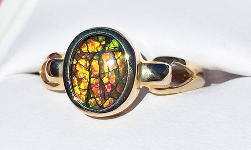 Korite Ammolite Oval Ring 3KGR