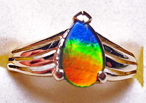 Korite Ammolite Pear Ring 6KGR