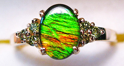 Korite Ammolite Oval Ring w/Green Diamond Accents 9KGR