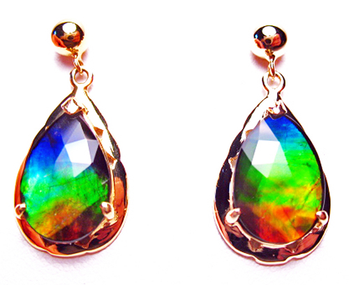 Korite Ammolite Faceted Pear Rene 18K Earrings 4KGE