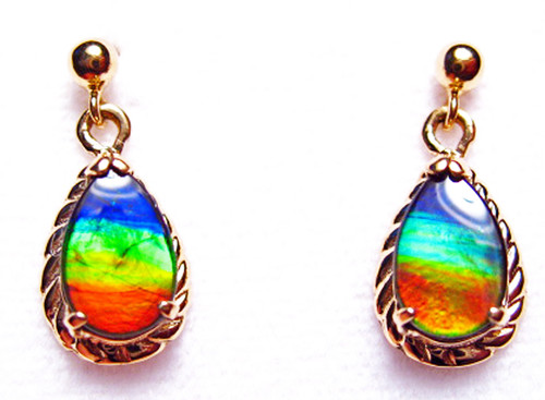 Korite Ammolite Pear Teardrop 18K Earrings 6KGE
