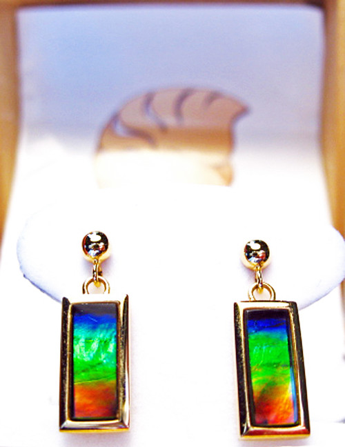 Korite Ammolite Rectangle Earrings 7KGE