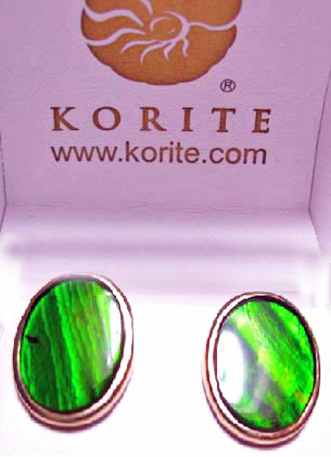 Korite Ammolite Oval Stud Earrings 10KGE