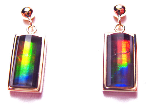 Korite Ammolite Faceted Rectangle Priscilla Earrings 11KGE