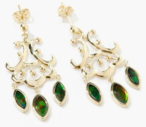 Korite Ammolite  Marquise Chandelier Earrings 13KGE