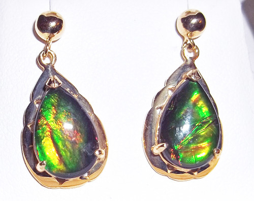 Korite Ammolite Pear Teardrop Rene Earrings 15KGE