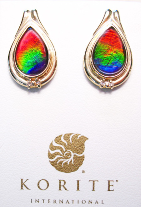 Korite Ammolite Pear Post Earrings 16KGE