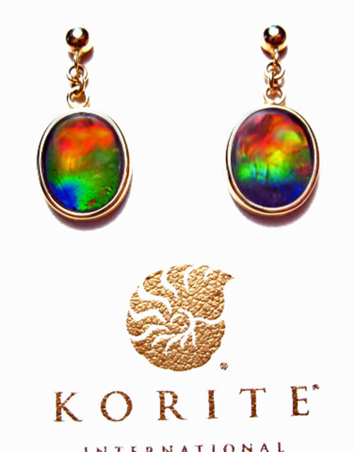 Korite Ammolite Oval Dangle Earrings 18KGE