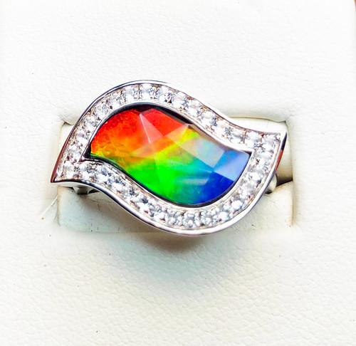 Korite Ammolite Avianna Topaz Leaf Silhouette Ring 1KSR