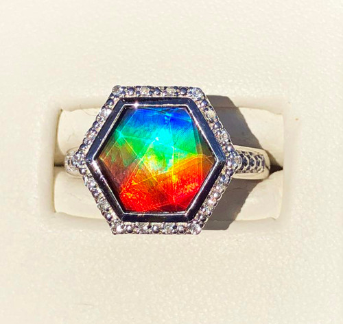Korite Ammolite Hexagon Alessandra Ring 2KSR