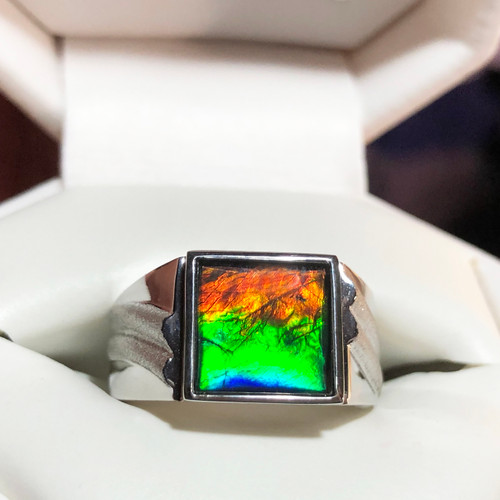 Korite Ammolite Square Men's Ring 5KSR