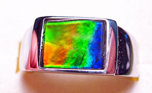Korite Ammolite Rectangle Men's Ring 8KSR