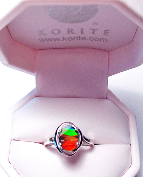 Korite Ammolite Oval Rosalind Ring 11KSR