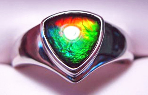 Korite Ammolite Trillion Ring 17KSR