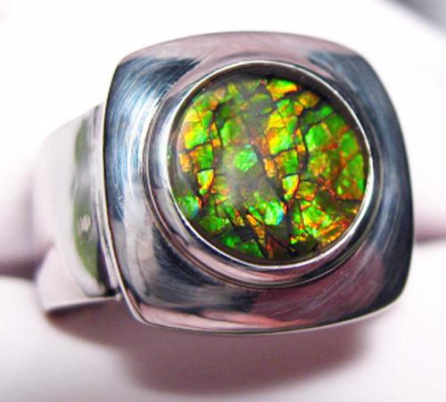 Korite Ammolite Round Unisex Ring 19KSR