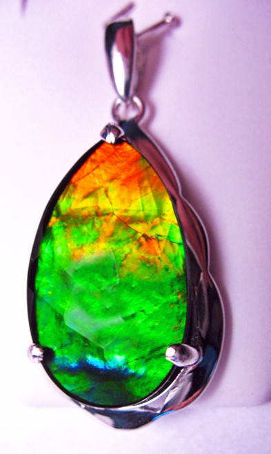Korite Ammolite Faceted Pear Pendant 17KSP