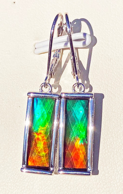 Korite Ammolite Faceted Rectangle Earrings 2KSE