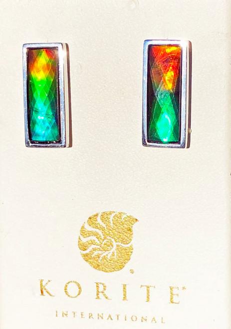 Korite Ammolite Faceted Rectangle Neda Earrings 3KSE