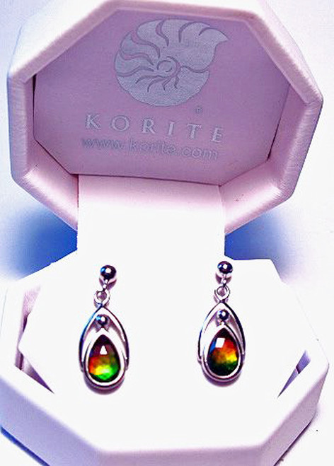 Korite Ammolite Pear Earrings 4KSE
