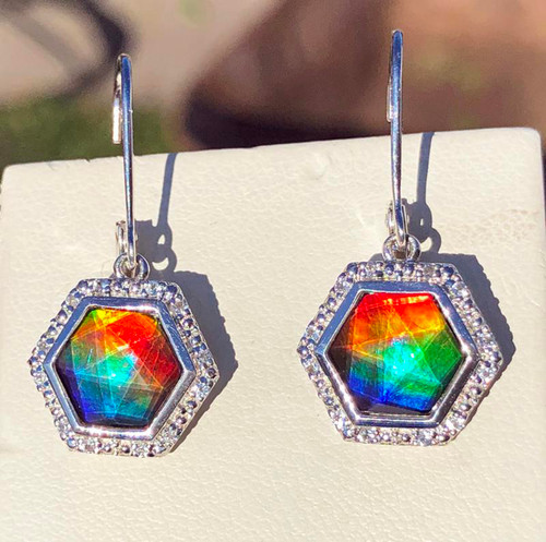 Korite Ammolite Faceted Hexagon Alessandra Ziva Earrings 6KS