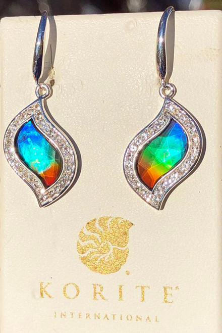 Korite Ammolite Faceted Leaf Avianna  Earrings 7KSE