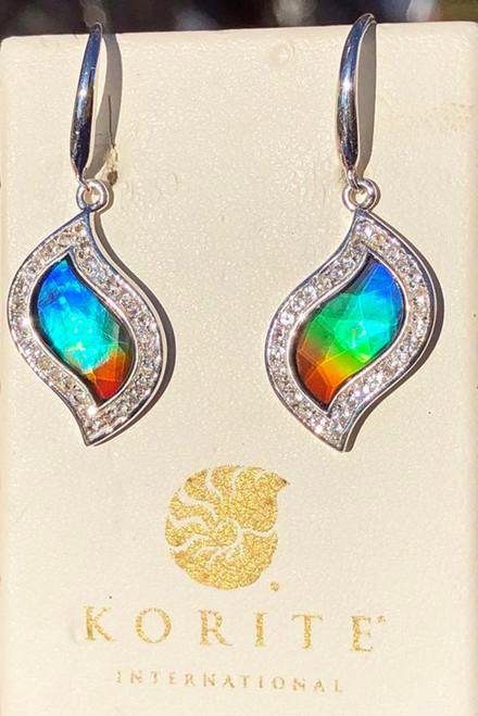 Korite Ammolite Faceted Leaf Avianna  Earrings 7KSE