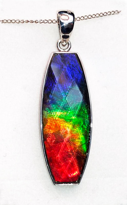Ammolite Faceted Barrel Sterling Silver Pendant 14SP