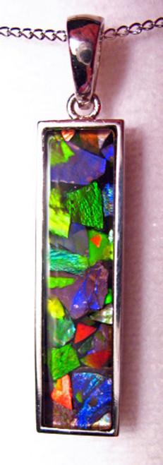 Ammolite Mosaic Rectangle Sterling Silver Pendant 27SP