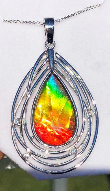 Ammolite Solara Inspired Sterling Silver Pendant  37SP